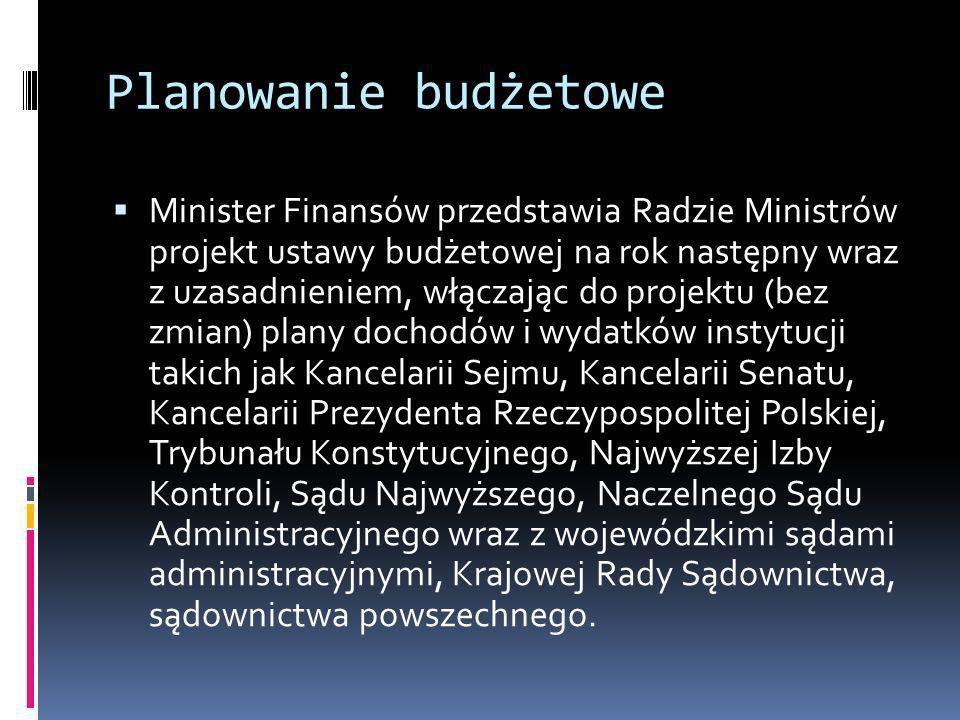 Planowanie budżetowe Minister Finansów przedstawia Radzie Ministrów projekt ustawy budżetowej na rok następny wraz z uzasadnieniem, włączając do proje