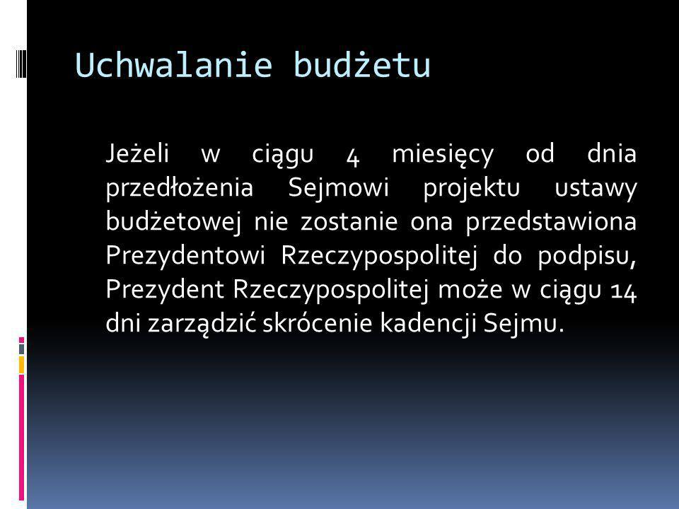 Uchwalanie budżetu Jeżeli w ciągu 4 miesięcy od dnia przedłożenia Sejmowi projektu ustawy budżetowej nie zostanie ona przedstawiona Prezydentowi Rzecz