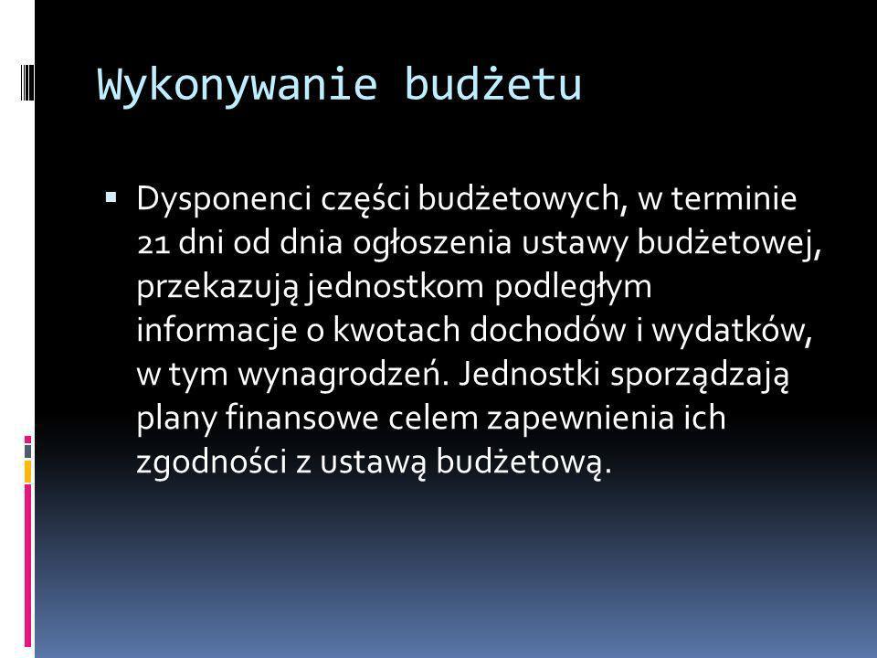 Wykonywanie budżetu Dysponenci części budżetowych, w terminie 21 dni od dnia ogłoszenia ustawy budżetowej, przekazują jednostkom podległym informacje