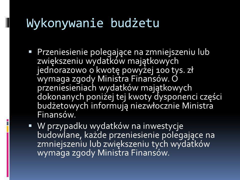 Wykonywanie budżetu Przeniesienie polegające na zmniejszeniu lub zwiększeniu wydatków majątkowych jednorazowo o kwotę powyżej 100 tys. zł wymaga zgody