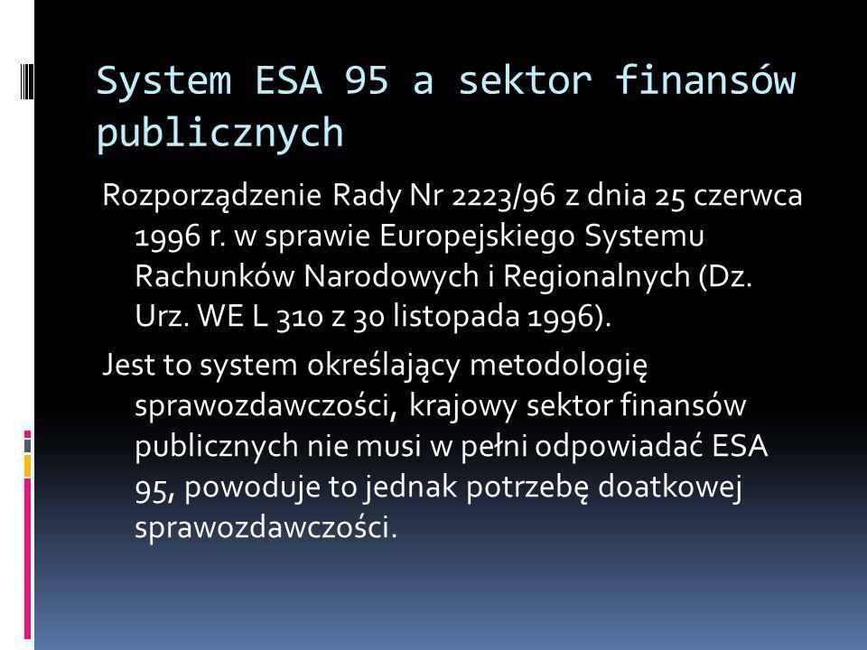 System ESA 95 a sektor finansów publicznych Rozporządzenie Rady Nr 2223/96 z dnia 25 czerwca 1996 r. w sprawie Europejskiego Systemu Rachunków Narodow
