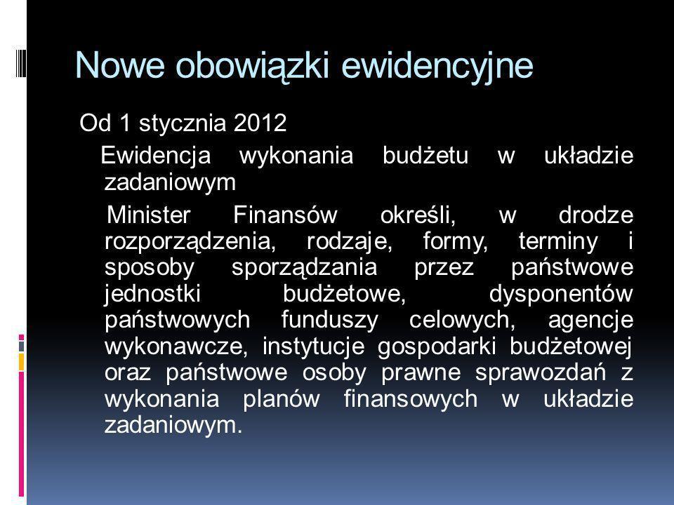 Nowe obowiązki ewidencyjne Od 1 stycznia 2012 Ewidencja wykonania budżetu w układzie zadaniowym Minister Finansów określi, w drodze rozporządzenia, ro