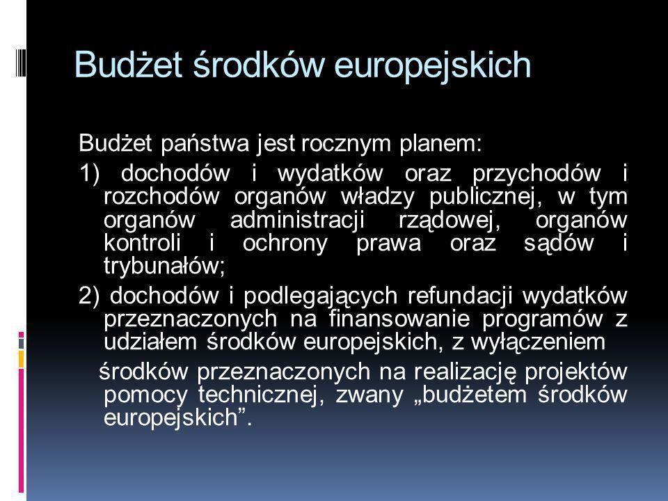 Budżet środków europejskich Budżet państwa jest rocznym planem: 1) dochodów i wydatków oraz przychodów i rozchodów organów władzy publicznej, w tym or