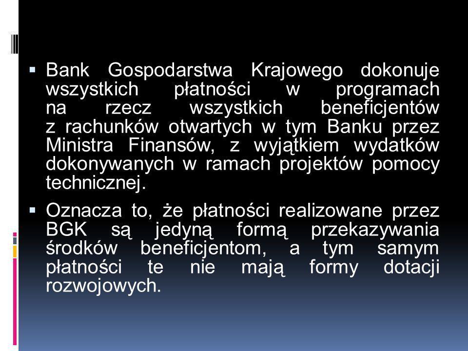 Bank Gospodarstwa Krajowego dokonuje wszystkich płatności w programach na rzecz wszystkich beneficjentów z rachunków otwartych w tym Banku przez Minis