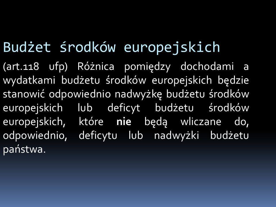 Budżet środków europejskich (art.118 ufp) Różnica pomiędzy dochodami a wydatkami budżetu środków europejskich będzie stanowić odpowiednio nadwyżkę bud