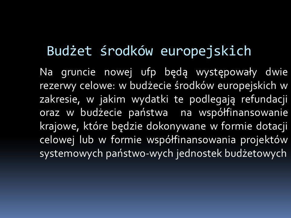 Budżet środków europejskich Na gruncie nowej ufp będą występowały dwie rezerwy celowe: w budżecie środków europejskich w zakresie, w jakim wydatki te