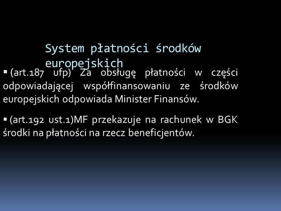 System płatności środków europejskich ( art.187 ufp) Za obsługę płatności w części odpowiadającej współfinansowaniu ze środków europejskich odpowiada