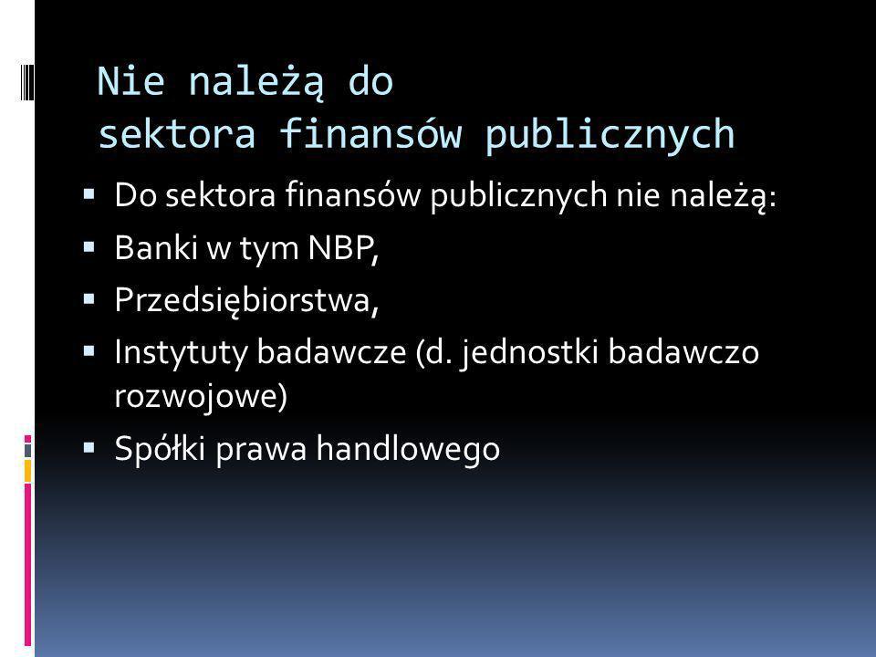 Nie należą do sektora finansów publicznych Do sektora finansów publicznych nie należą: Banki w tym NBP, Przedsiębiorstwa, Instytuty badawcze (d. jedno