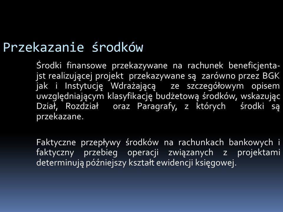 Przekazanie środków Środki finansowe przekazywane na rachunek beneficjenta- jst realizującej projekt przekazywane są zarówno przez BGK jak i Instytucj