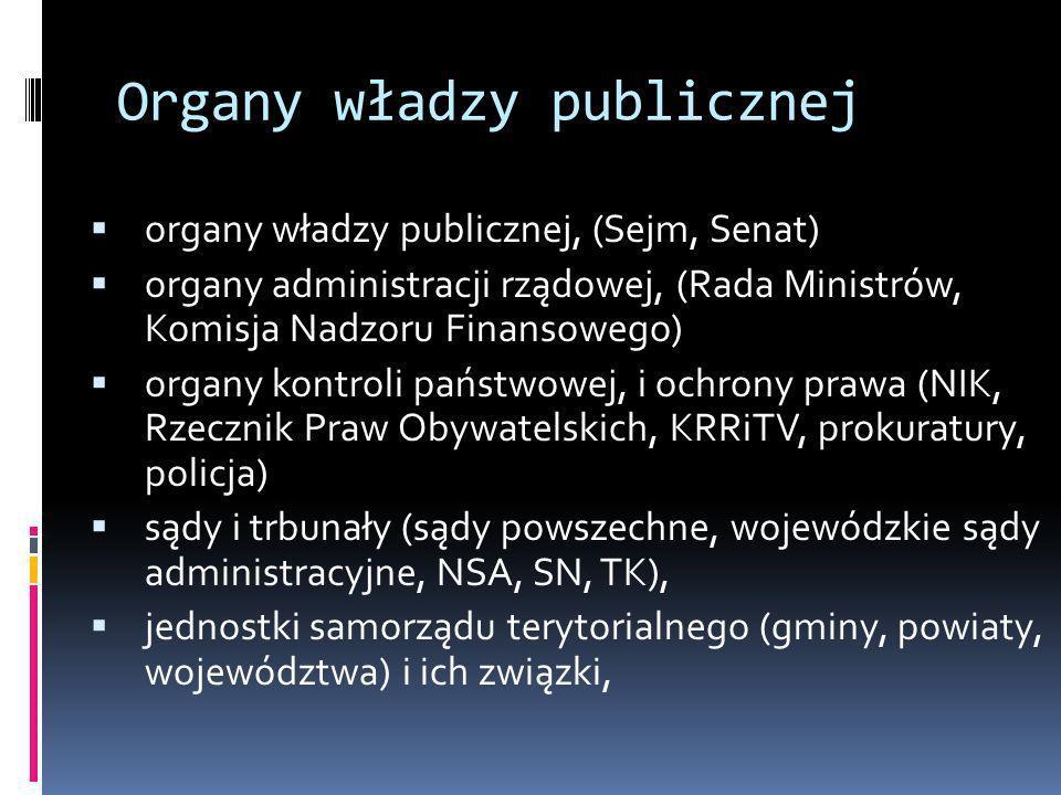 Organy władzy publicznej organy władzy publicznej, (Sejm, Senat) organy administracji rządowej, (Rada Ministrów, Komisja Nadzoru Finansowego) organy k