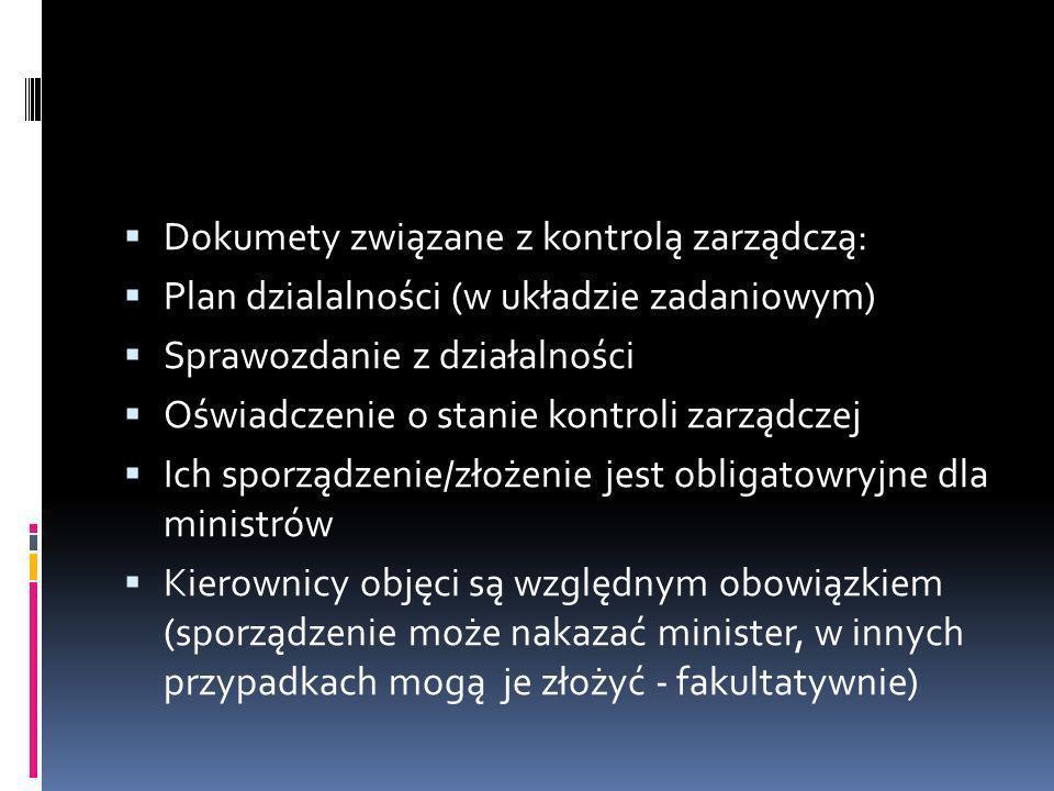Dokumety związane z kontrolą zarządczą: Plan dzialalności (w układzie zadaniowym) Sprawozdanie z działalności Oświadczenie o stanie kontroli zarządcze
