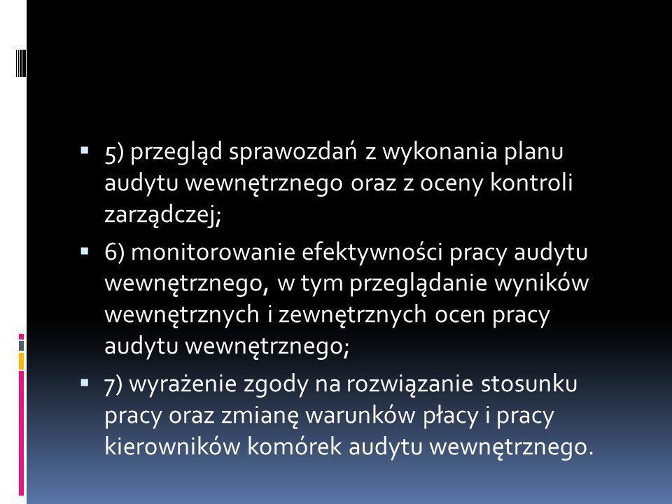 5) przegląd sprawozdań z wykonania planu audytu wewnętrznego oraz z oceny kontroli zarządczej; 6) monitorowanie efektywności pracy audytu wewnętrznego