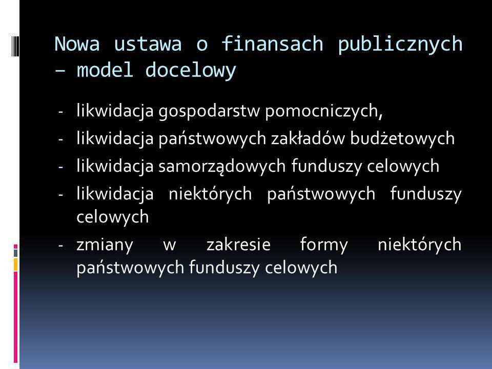Nowa ustawa o finansach publicznych – model docelowy - likwidacja gospodarstw pomocniczych, - likwidacja państwowych zakładów budżetowych - likwidacja