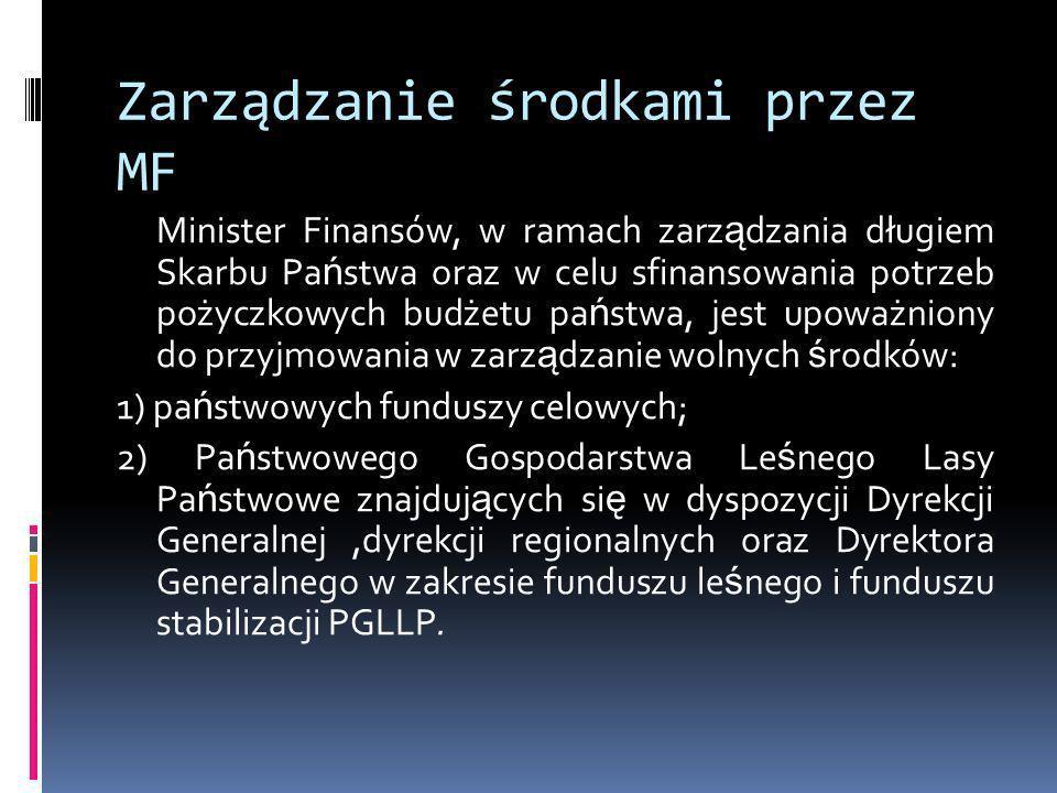 Zarządzanie środkami przez MF Minister Finansów, w ramach zarz ą dzania długiem Skarbu Pa ń stwa oraz w celu sfinansowania potrzeb pożyczkowych budżet
