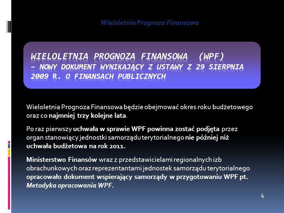 Wieloletnia Prognoza Finansowa Wieloletnia Prognoza Finansowa będzie obejmować okres roku budżetowego oraz co najmniej trzy kolejne lata. Po raz pierw