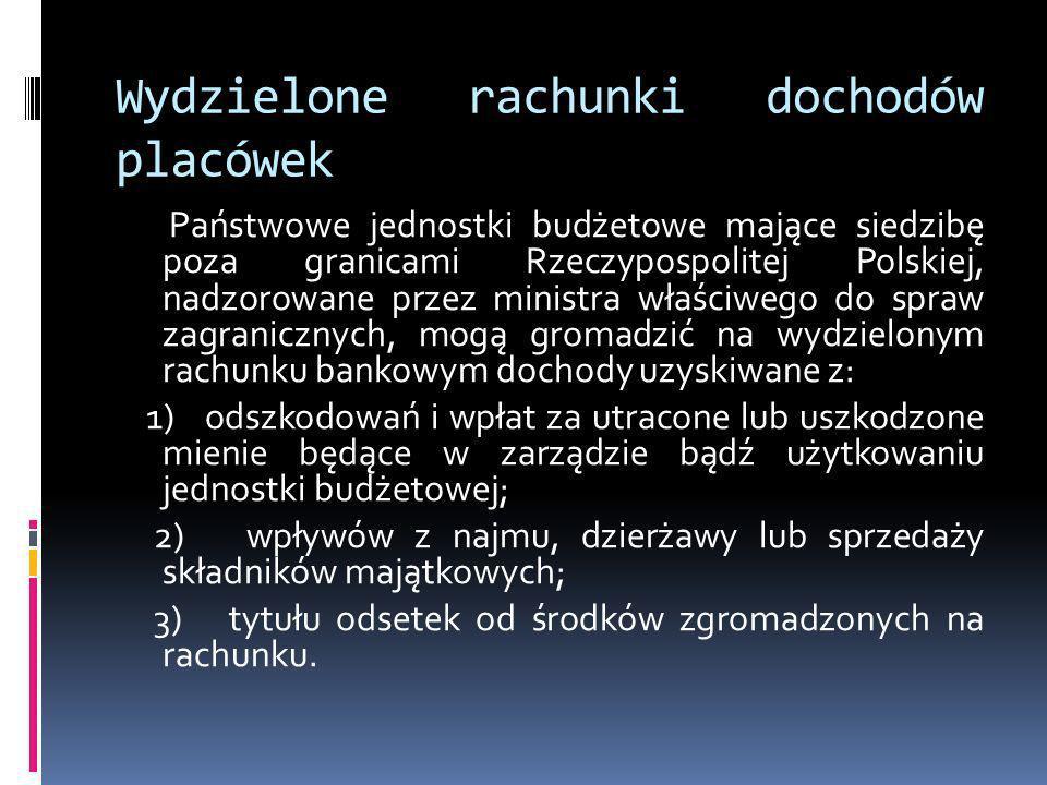 Wydzielone rachunki dochodów placówek Państwowe jednostki budżetowe mające siedzibę poza granicami Rzeczypospolitej Polskiej, nadzorowane przez minist