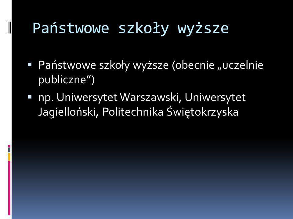 Państwowe szkoły wyższe Państwowe szkoły wyższe (obecnie uczelnie publiczne) np. Uniwersytet Warszawski, Uniwersytet Jagielloński, Politechnika Święto