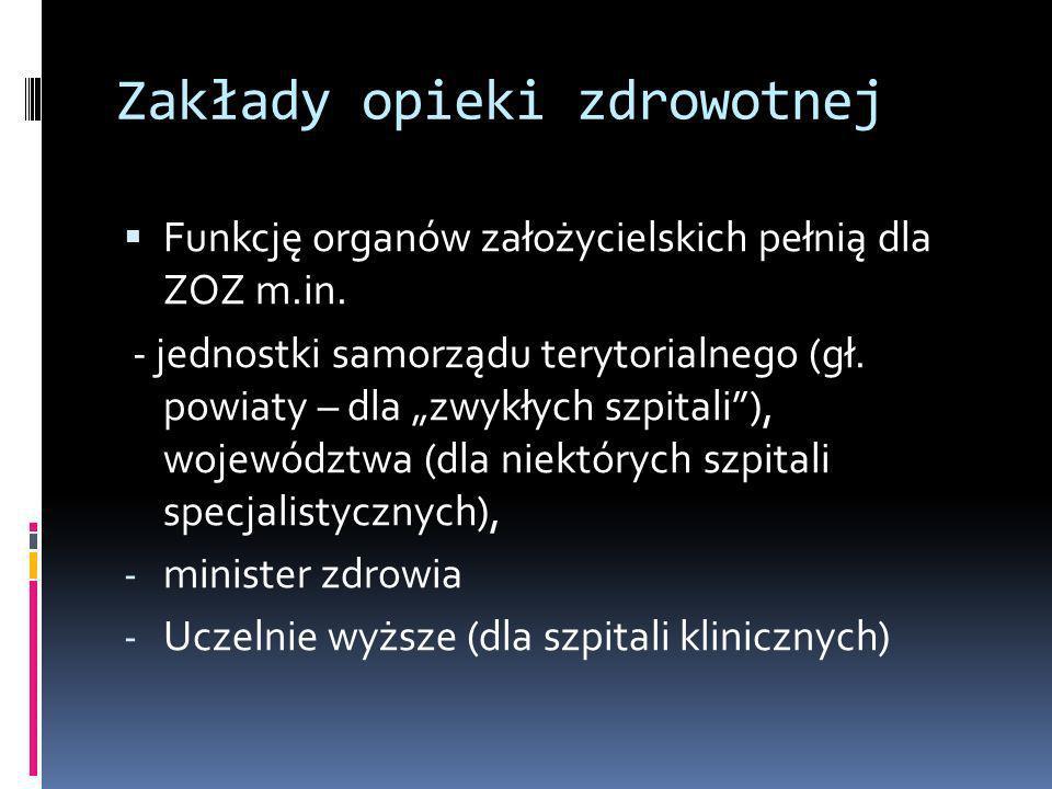 Zakłady opieki zdrowotnej Funkcję organów założycielskich pełnią dla ZOZ m.in. - jednostki samorządu terytorialnego (gł. powiaty – dla zwykłych szpita