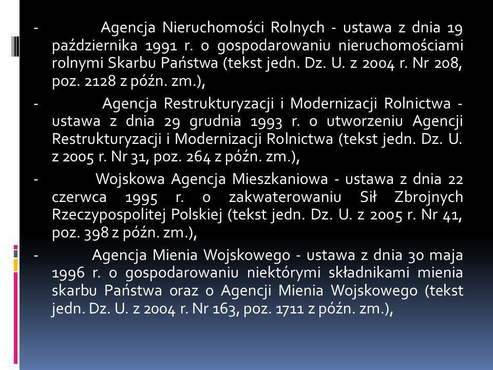 - Agencja Nieruchomości Rolnych - ustawa z dnia 19 października 1991 r. o gospodarowaniu nieruchomościami rolnymi Skarbu Państwa (tekst jedn. Dz. U. z
