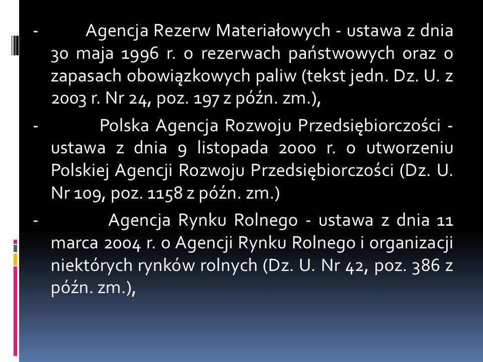 - Agencja Rezerw Materiałowych - ustawa z dnia 30 maja 1996 r. o rezerwach państwowych oraz o zapasach obowiązkowych paliw (tekst jedn. Dz. U. z 2003