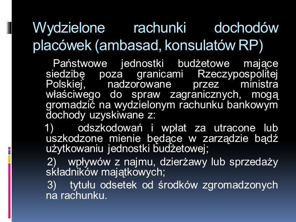 Wydzielone rachunki dochodów placówek (ambasad, konsulatów RP) Państwowe jednostki budżetowe mające siedzibę poza granicami Rzeczypospolitej Polskiej,