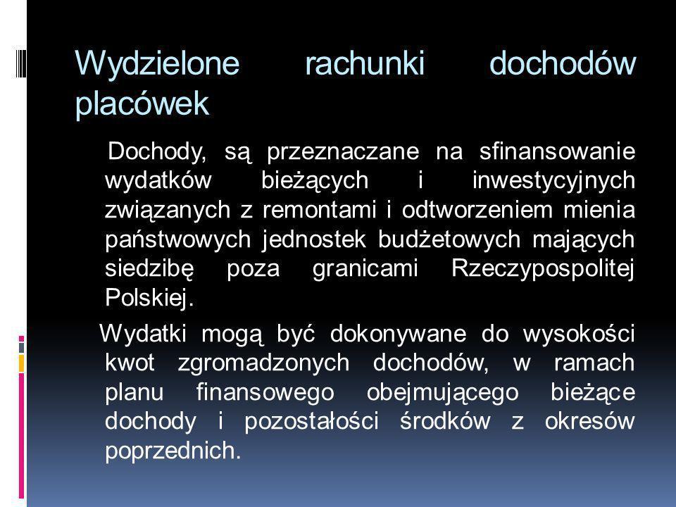 Wydzielone rachunki dochodów placówek Dochody, są przeznaczane na sfinansowanie wydatków bieżących i inwestycyjnych związanych z remontami i odtworzen