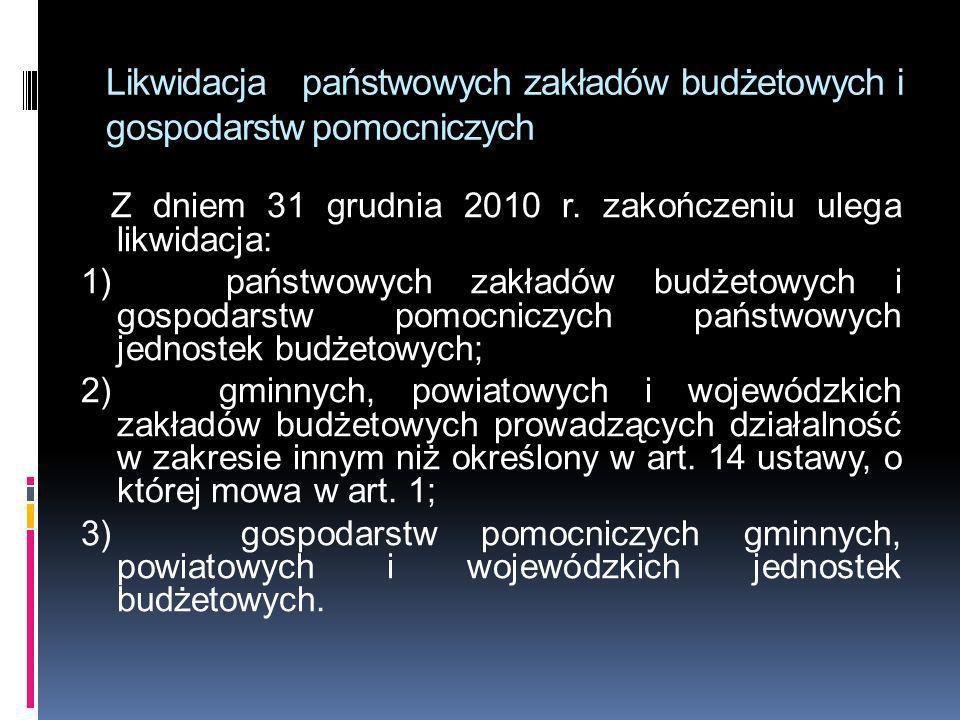 Likwidacja państwowych zakładów budżetowych i gospodarstw pomocniczych Z dniem 31 grudnia 2010 r. zakończeniu ulega likwidacja: 1) państwowych zakładó