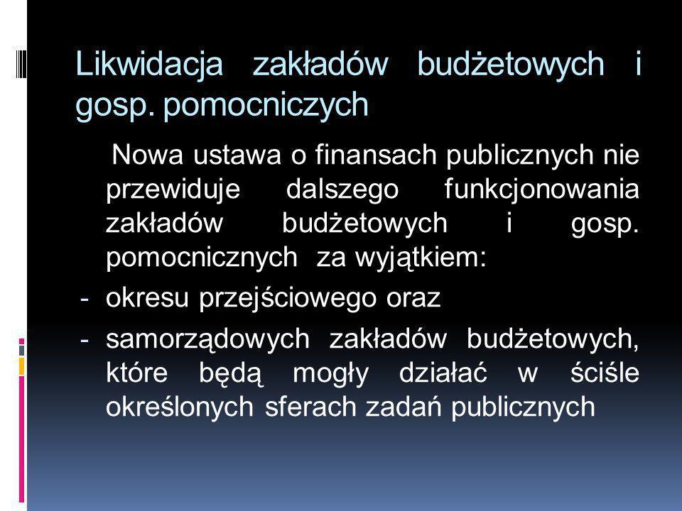 Likwidacja zakładów budżetowych i gosp. pomocniczych Nowa ustawa o finansach publicznych nie przewiduje dalszego funkcjonowania zakładów budżetowych i