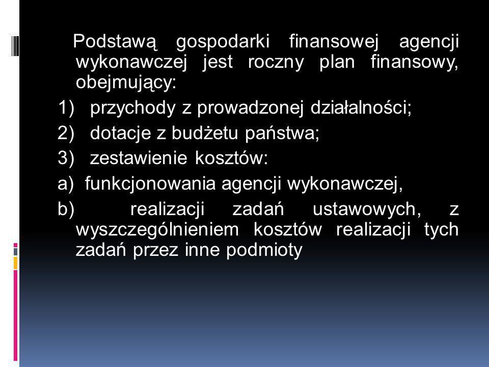 Podstawą gospodarki finansowej agencji wykonawczej jest roczny plan finansowy, obejmujący: 1) przychody z prowadzonej działalności; 2) dotacje z budże