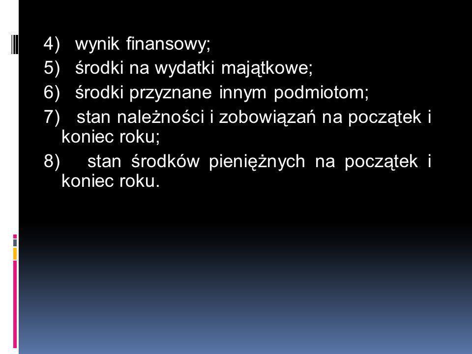 4) wynik finansowy; 5) środki na wydatki majątkowe; 6) środki przyznane innym podmiotom; 7) stan należności i zobowiązań na początek i koniec roku; 8)