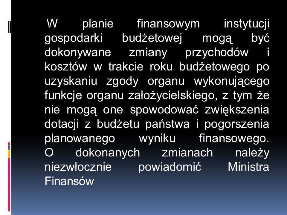W planie finansowym instytucji gospodarki budżetowej mogą być dokonywane zmiany przychodów i kosztów w trakcie roku budżetowego po uzyskaniu zgody org
