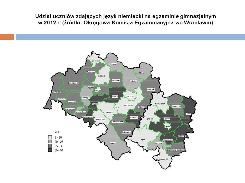 Udział uczniów zdających język niemiecki na egzaminie gimnazjalnym w 2012 r. (źródło: Okręgowa Komisja Egzaminacyjna we Wrocławiu)