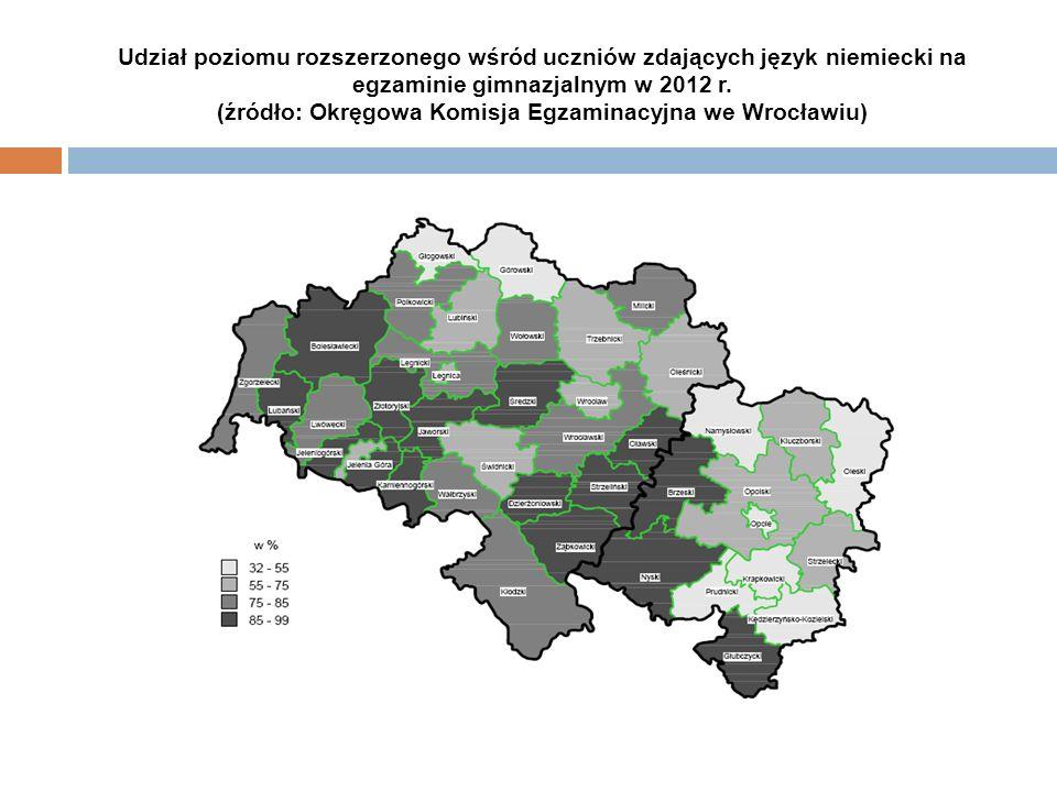 Udział poziomu rozszerzonego wśród uczniów zdających język niemiecki na egzaminie gimnazjalnym w 2012 r. (źródło: Okręgowa Komisja Egzaminacyjna we Wr