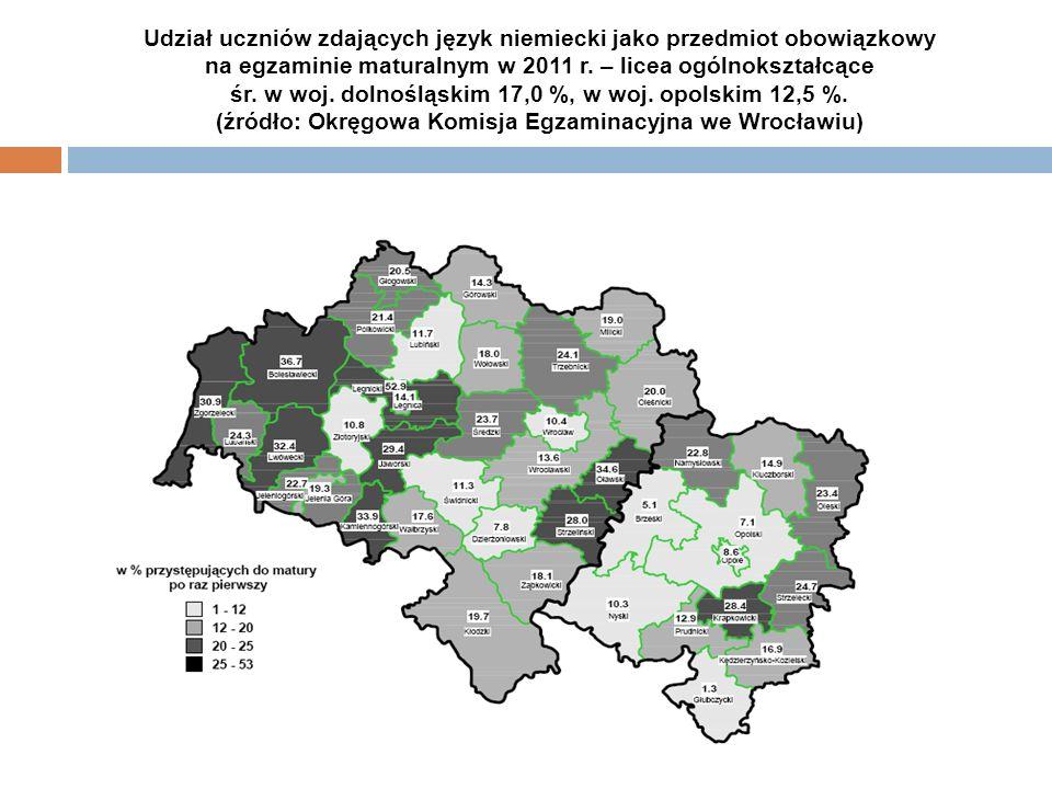 Udział uczniów zdających język niemiecki jako przedmiot obowiązkowy na egzaminie maturalnym w 2011 r. – licea ogólnokształcące śr. w woj. dolnośląskim