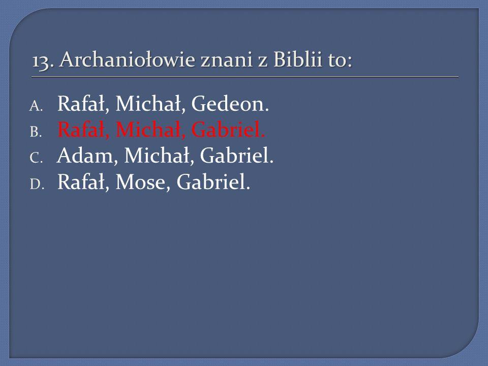 13. Archaniołowie znani z Biblii to: A. Rafał, Michał, Gedeon. B. Rafał, Michał, Gabriel. C. Adam, Michał, Gabriel. D. Rafał, Mose, Gabriel.
