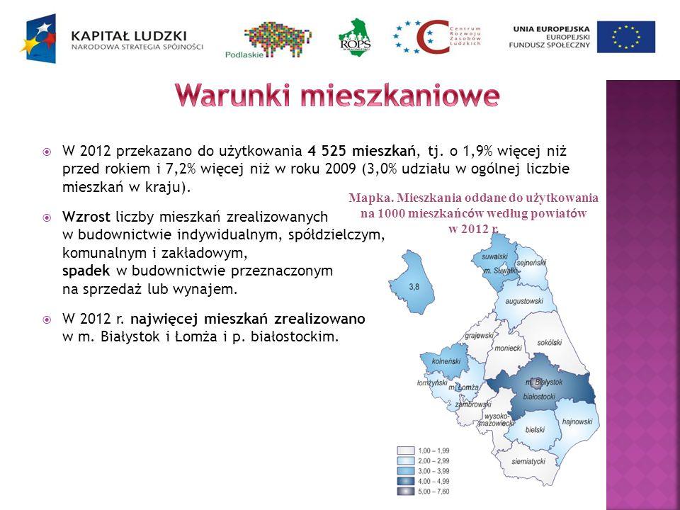 W 2012 przekazano do użytkowania 4 525 mieszkań, tj. o 1,9% więcej niż przed rokiem i 7,2% więcej niż w roku 2009 (3,0% udziału w ogólnej liczbie mies