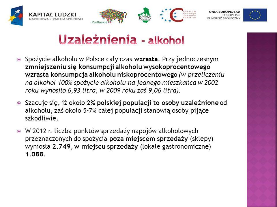 Spożycie alkoholu w Polsce cały czas wzrasta. Przy jednoczesnym zmniejszeniu się konsumpcji alkoholu wysokoprocentowego wzrasta konsumpcja alkoholu ni