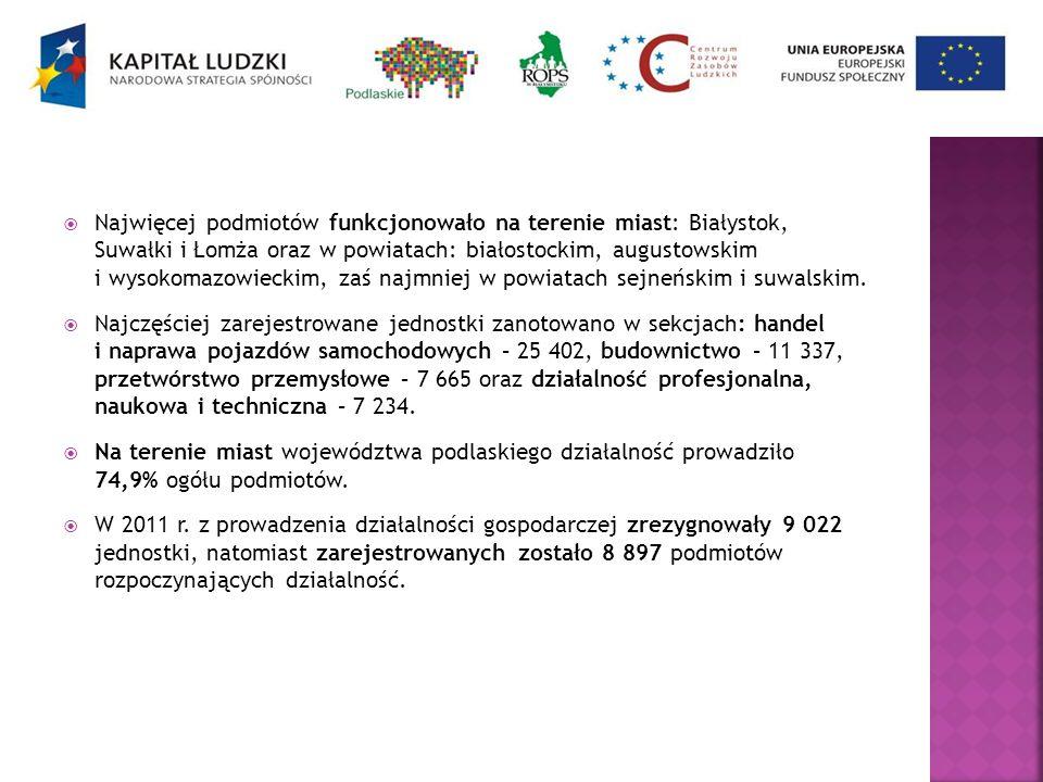 Najwięcej podmiotów funkcjonowało na terenie miast: Białystok, Suwałki i Łomża oraz w powiatach: białostockim, augustowskim i wysokomazowieckim, zaś n