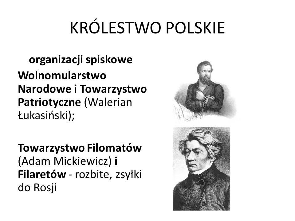KRÓLESTWO POLSKIE organizacji spiskowe Wolnomularstwo Narodowe i Towarzystwo Patriotyczne (Walerian Łukasiński); Towarzystwo Filomatów (Adam Mickiewic