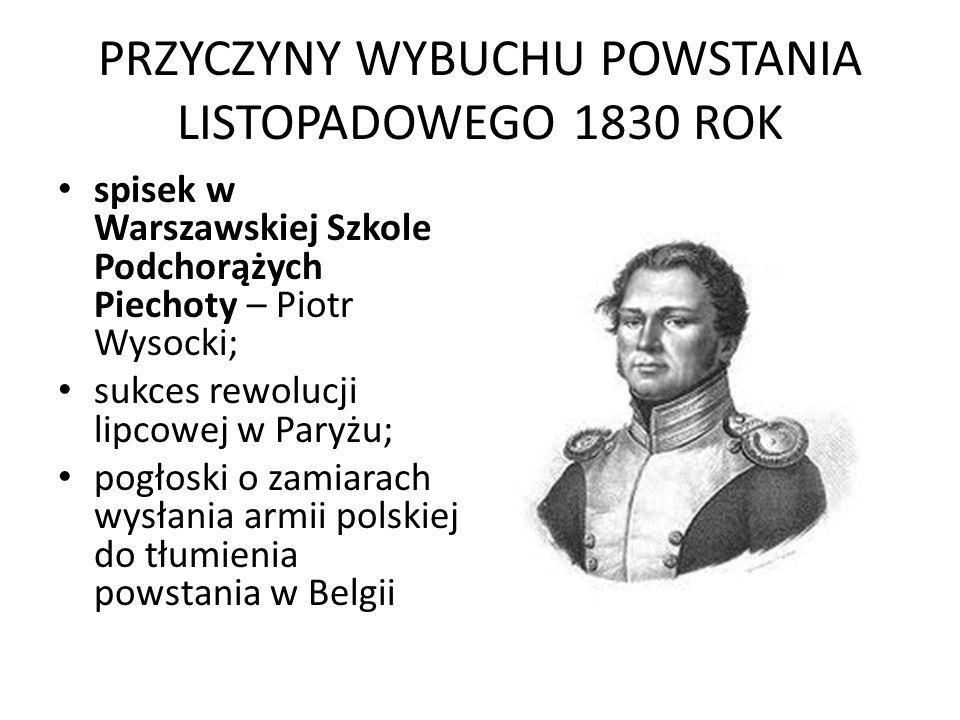 PRZYCZYNY WYBUCHU POWSTANIA LISTOPADOWEGO 1830 ROK spisek w Warszawskiej Szkole Podchorążych Piechoty – Piotr Wysocki; sukces rewolucji lipcowej w Par