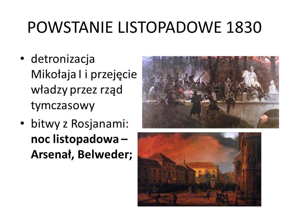 POWSTANIE LISTOPADOWE 1830 detronizacja Mikołaja I i przejęcie władzy przez rząd tymczasowy bitwy z Rosjanami: noc listopadowa – Arsenał, Belweder;