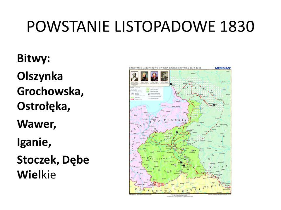 POWSTANIE LISTOPADOWE 1830 Bitwy: Olszynka Grochowska, Ostrołęka, Wawer, Iganie, Stoczek, Dębe Wielkie
