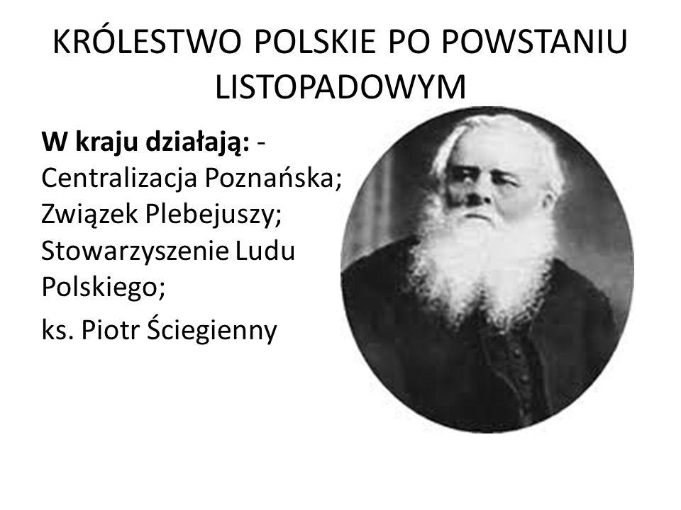 KRÓLESTWO POLSKIE PO POWSTANIU LISTOPADOWYM W kraju działają: - Centralizacja Poznańska; Związek Plebejuszy; Stowarzyszenie Ludu Polskiego; ks. Piotr