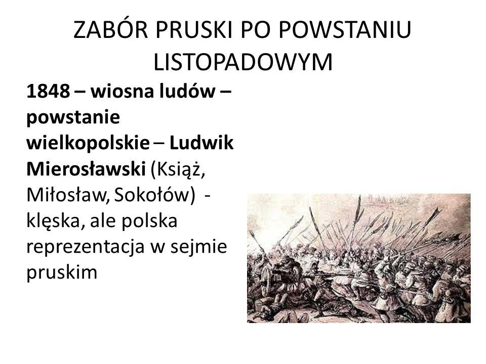ZABÓR PRUSKI PO POWSTANIU LISTOPADOWYM 1848 – wiosna ludów – powstanie wielkopolskie – Ludwik Mierosławski (Książ, Miłosław, Sokołów) - klęska, ale po