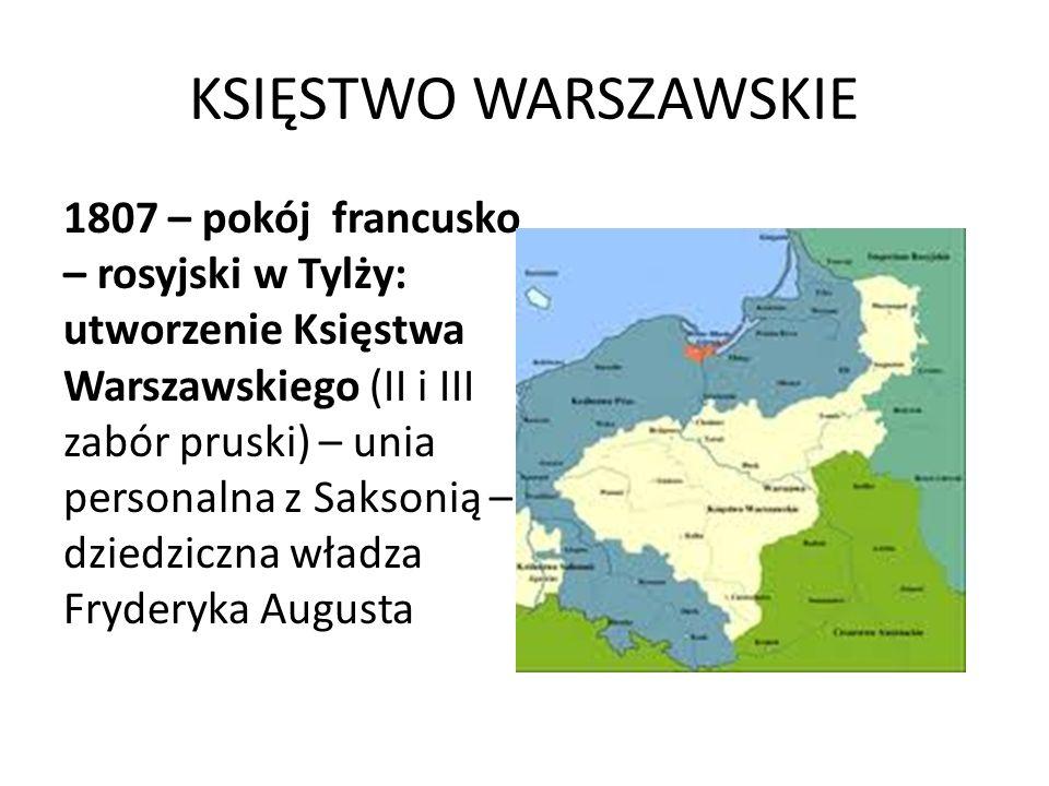 KSIĘSTWO WARSZAWSKIE 1807 – pokój francusko – rosyjski w Tylży: utworzenie Księstwa Warszawskiego (II i III zabór pruski) – unia personalna z Saksonią