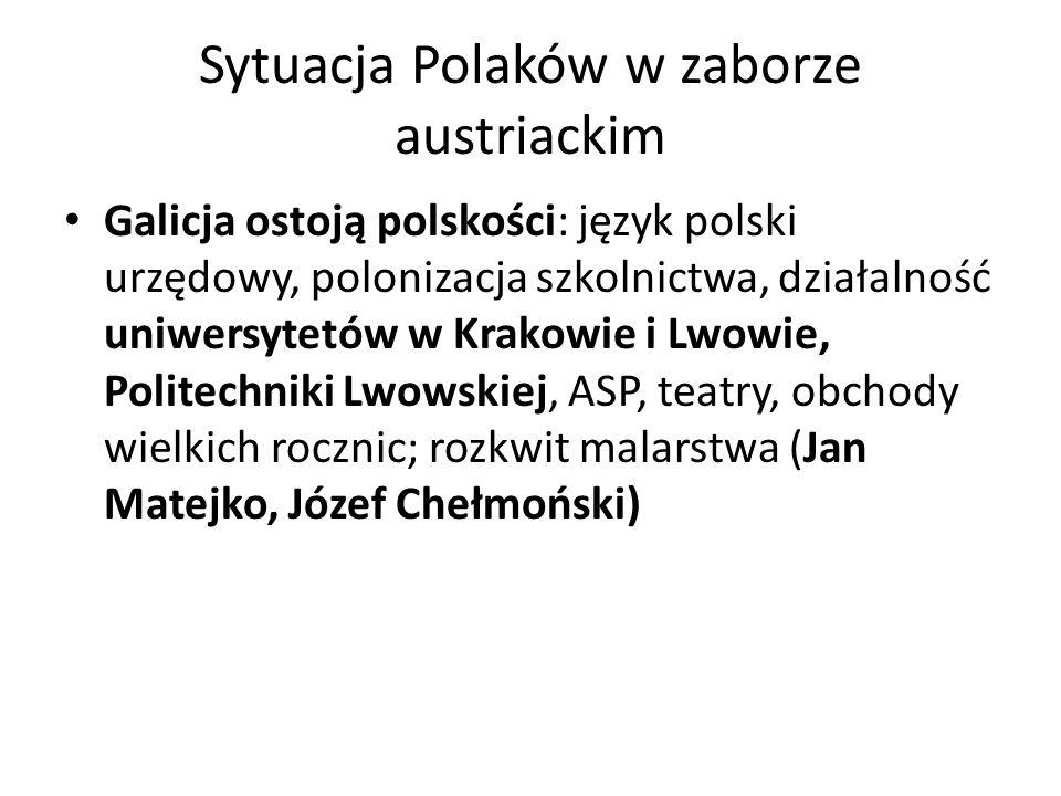 Sytuacja Polaków w zaborze austriackim Galicja ostoją polskości: język polski urzędowy, polonizacja szkolnictwa, działalność uniwersytetów w Krakowie