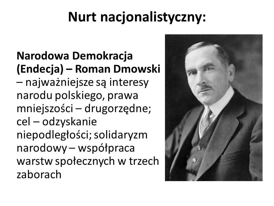 Nurt nacjonalistyczny: Narodowa Demokracja (Endecja) – Roman Dmowski – najważniejsze są interesy narodu polskiego, prawa mniejszości – drugorzędne; ce