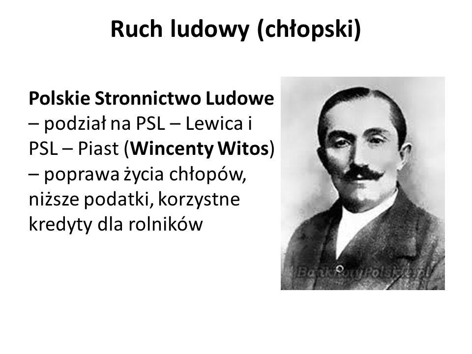 Ruch ludowy (chłopski) Polskie Stronnictwo Ludowe – podział na PSL – Lewica i PSL – Piast (Wincenty Witos) – poprawa życia chłopów, niższe podatki, ko