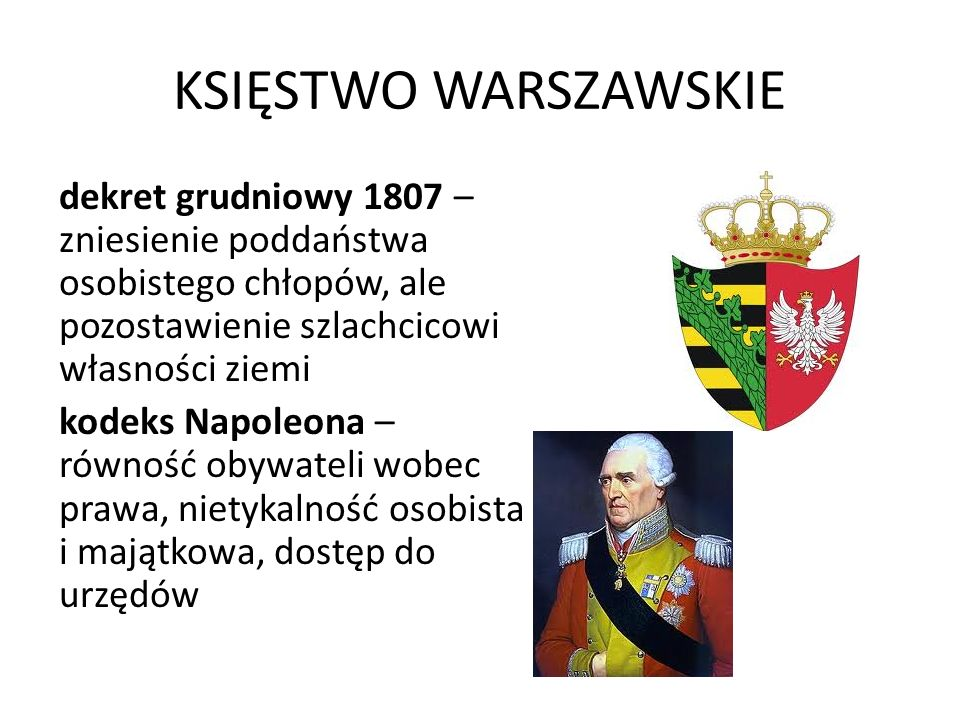 KSIĘSTWO WARSZAWSKIE dekret grudniowy 1807 – zniesienie poddaństwa osobistego chłopów, ale pozostawienie szlachcicowi własności ziemi kodeks Napoleona