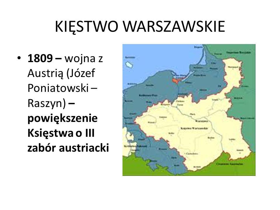 KIĘSTWO WARSZAWSKIE 1809 – wojna z Austrią (Józef Poniatowski – Raszyn) – powiększenie Księstwa o III zabór austriacki